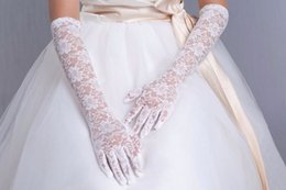 Wholesale White Brand Gauze Finger Elbow Women Length Lace Gloves luva de noiva Bridal Beautiful Long Wedding Gloves
