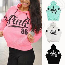 Женщины с длинным рукавом розовый фуфайки Hoodie свитера вскользь с капюшоном Пальто Пуловер Tops рубашку пальто 4 цвета 10pcs OOA862