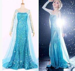Wholesale Frozen Elsa Queen Princess Adult Women Evening Party Dress Cosplay Dress Costume Elsa Dresses Halloween Costumes for Women DH1608001