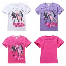 2017 wholesale shirts for summer Girls T-Shirts Children Kids Little Mix T Shirt Tees for 6-14T Girls Summer Clothing White Pink Purple wholesale shirts for summer deals