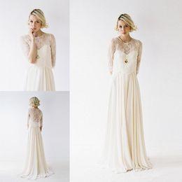 Wholesale 2 Sleeves Boho Wedding Gowns Chiffon Bohemian Wedding Dress