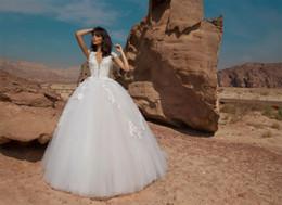Wholesale Pnina Tornai Wedding Dresses Princess Ball Gown Deep V Neck Cap Sleeves Garden Beach Bridal Gowns Lace Appliques Tulle Vintage Vestidos