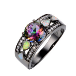 junxin fashion jewelry women wedding rainbow opal rings colorful cz 10kt black gold filled engagement ring rb0264 - Black Opal Wedding Rings