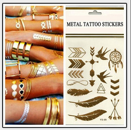 Temporary tattoo Gold tattoo Flash Tattoos Leaf Tatoos Metallic Sexy Products jewelry Henna Tatoo Body Art tattoo stickers 14*25cm cheap henna belly art from henna belly art suppliers