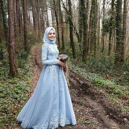 Wholesale Musulmanes azul cielo azul vestidos de encaje Appliques romántica barrido tren vestidos de novia Abrac novia vestidos