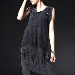 Wholesale Women Shirts Punk Rock Style T Shirt Sleeveless Summer Vest Tassel Design Female Casual Tops O neck Ladies Clothing XD0293