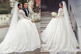 Wholesale Luxury Dubai Ball Gown Wedding Dresses Illusion Full Lace Long Sleeves Bridal Dresses Arabic Vestidos Wedding Gowns