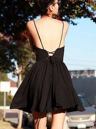 Wholesale 2 Colors Spaghetti Strap Backless Mini Skater Dress A Line Sexy Casual Striped Sleeveless Tied Back Dresses Women Clothing