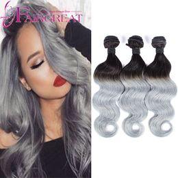 Discount ombre human hair wave New Arrival #1B Gray 100% Virginn Human Hair Wavy 7A Brazilian Virginn Hair Body Wave Silver Grey Hair Weave 3 Pcs Lot Ombre Hair Extensions