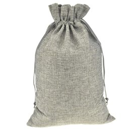 20x30cm Gray Handmade Gift Jute Burlap Drawstring Sacks Storage Bags For Toys Sock Shoe Scarf Reusable Home Decor Customized Logo Printed