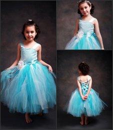 Preciosa flor del cielo azul niña vestidos de longitud de té vestidos de primera comunión Tul En Stock 6 colores cumpleaños de los bebés vestidos de bola MC0222