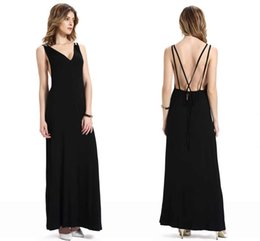 Wholesale Cheap Women Maxi Black V Neck Party Dresses Hot Women Summer Beach Chiffon Party Dresses Boho Long Street Evening Gowns