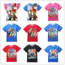 2017 wholesale shirts for summer 14 Designs Zootopia T shirt T-shirts Kids Girls Zootopia Summer Tees Cotton Short Sleeve Clothing for Children LA227-2 wholesale shirts for summer promotion