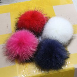 Discount baby adult cap hat 15CM 100% Genuine Raccoon Fur pom poms Big Full Size Winter Knit Baby Kids hats caps Headwear Decoration For Girls and Boys