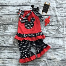 Wholesale 2016 new summer hot sell baby girls red minnie mouse black polk dot shorts set outfits with matching necklace and bow set