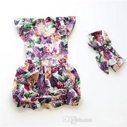 Wholesale 2016 Summer babies romper clothes Baby girls flowers printed fly sleeve romper bows headbands kids cotton jumpsuit Newborn bodysuit