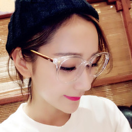 high quality retro round clear glasses half frame eyeglasses nerd transparent frames cat eye spectacle optical lens clear transparent women