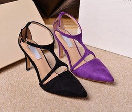 Wholesale Oficina de la señora tobillo de los zapatos de la correa Pointed Toes cm altos talones del estilete partido de la bola del vestido de boda del verano mujeres de las sandalias de cuero Bomba SZ