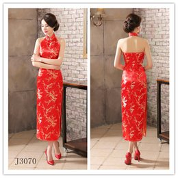 Wholesale Backless Traditional Chinese Dress Gown Halter Long Cheongsam Dress Faux Silk Qipao Formal Party Dress S XL Style