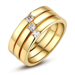 fine aaa zircon jewelry 3 rings ring set simple golden plated rings elegant classic rings jewelry fine gifts - Simple Wedding Ring Sets