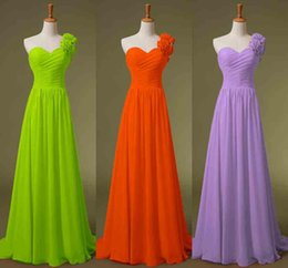 Wholesale One Shoulder Chiffon Honor of Maid Dresses A line Black Red Lime Blue Yellow Lilac Bridesmaid Evening Party Gowns In Stock