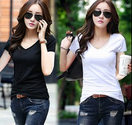 Discount wholesale shirts for summer Summer Women T-shirts Tops 2016 Tees Womens T Shirt Female Tee V Neck Solid White Black Clubwear Shirt For Party Short Sleeve