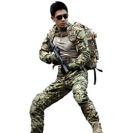 ¡Caliente! Juego de camuflaje de caza al aire libre multicam combate camiseta uniforme pantalones tácticos con rodilleras camuflaje caza ropa ghillie conjuntos