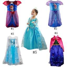 Wholesale Princess Clothes Frozen Elsa Princess Dresses Elsa Anna Dresses Costume Styles Kids Halloween Party Dress