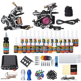 Wholesale Solong Tattoo Kit Carbon Steel Wrap Coils Machine Guns Power Supply Needles Colors for Artist Beginner Tattoo Kits Y