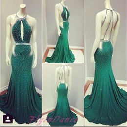 Wholesale 2016 New Mermaid Green Prom Dresses Elegant Open Backs Chiffon Evening Gown With Beaded Bodice Scoop Neckline Backless Party Dress For Teens