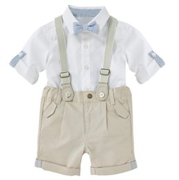 Wholesale Hug Me Baby Boys Outfits and Sets Babys Kids Clothes New Summer Bow Short Sleeve shirts and Shorts with Straps Sets
