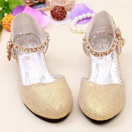 Wholesale Children Princess Glitter Sandals Kids Girls Wedding Shoes High Heels Dress Shoes Party Shoes Girls Pink Blue Silver Gold free ship