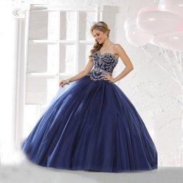 Wholesale Royal Blue Quinceañera vestidos de bordado rebordear vestidos de bola de mascarada hinchada Debutante viste la nueva manera de los vestidos del desfile