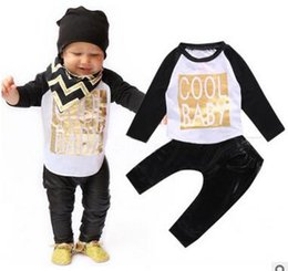 Wholesale Baby boy clothes antumn kids clothes sets t shirt pants suit clothing set baby cool Printed Clothes newborn sport suits hight quality f