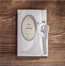 Wholesale White Laser Cut Bride and Groom Wedding Invitation Cards Personalized Hollow Wedding Party Printable with Envelope Seals Wedding Supplies