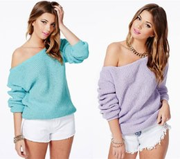 Wholesale 2017 Autumn Women Sweaters Jumper Pullover Batwing Long Sleeve Casual Loose Solid Blouse Shirt Top Plus Femininas Blusas FS0687