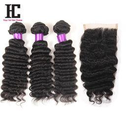 Discount ombre weaves closure Brazilian Deep Wave With Closure 7a Brazilian Virgin Hair 3 Bundles With Closure Brazilian Deep Curly Virgin Hair With Closure