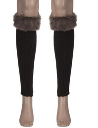 Amazing 1 Pair Solid Color Winter Knitted Faux Fur Leg Warmers for Women Adult New Free Shipping