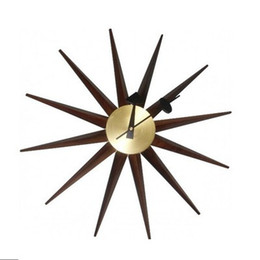 online shopping home decor designer starburst wall clock pure copper america walnut horloge watch wall clock