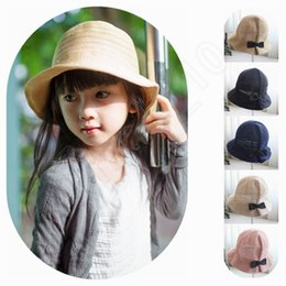 Wholesale LJJG195 Kids Bucket Hat Summer Hemming Cap Children Bowknot Decoration Lovely Girls Sun Beach Hat Solid Floppy Panama Hat Colors