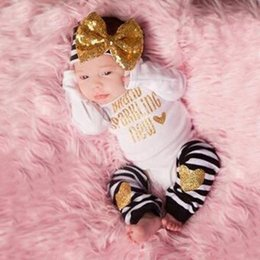 Wholesale New fashion spring autumn baby girl clothes newborn baby clothing long sleeve romper pants hairhand infant sets