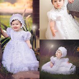 Выполненные на заказ платья Прекрасные Крещение высокого качества Тафта Крещения платье шнурка куртки крестин платья с Bonnet For Baby Girls EN102616