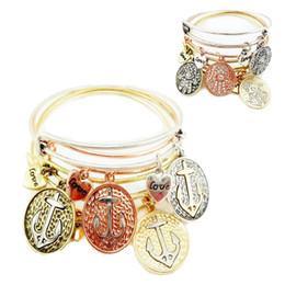 Discount alex ani New Fashion Jewelry Alex and Ani Bracelets 2 styles Hand of Fatima&anchor Charm Bracelet 4 colors Silver Gold Vintage Gold Rose Gold bangles