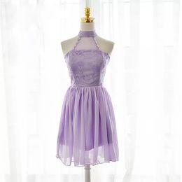 Wholesale Sexy purple Bridesmaid Dresses Chiffon Lace A Line Halter Neckline Sleeveless Fomal Prom Party Dress Knee Length
