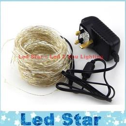 20M / 30M / 50M alambre de plata 200/300/500 LED LED de la luz de la secuencia de las luces de Navidad Luz de Navidad estrellada + Adaptador (Reino Unido, EE.UU., UE, enchufe del AU)