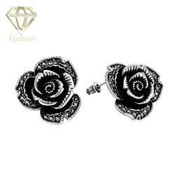 black earrings new classic black crystal flower vintage stud earrings antique silver plated jewelry for women party low price antique classic black