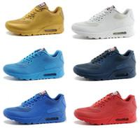 Discount Shoes Run Air Max Free Shipping USA 90 Hyperfuse Prm Air American FLAG for Men&Women Running Shoes Sneakers With Air Cushion HYPs QS shoes max size 40-45