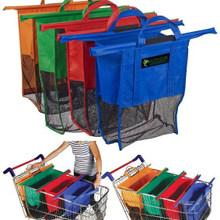 Wholesale 2016 Large Size in1 Shopping Grocery Bag For Supermarket Trolleys Carrier Bag Shopping Bag Reusable Trolleys Folding Shopping Bag