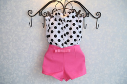 Wholesale summer girls clothing sets girl baby clothes polka dot coat pink pants baby clothing
