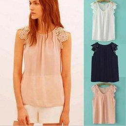 Wholesale 2016 New Arrival Women s Summer Chiffon Blouse Fashion Sleeveless Lace Shirt Stitching Shirts Openwork Flower Sleeves S M L XL XXL